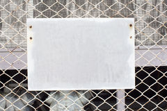Blank sign on chain link fence Stock Image