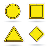 Blank sign construction yellow color set Royalty Free Stock Photography