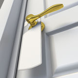Blank sign on the door handle. 3d render Royalty Free Stock Image