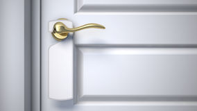 Blank sign on the door handle. 3d render Stock Images
