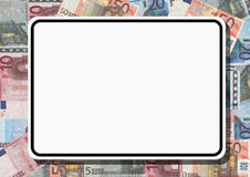 Blank sign with euros. Blank sign with colourful euros illustration Royalty Free Stock Photos
