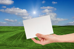 Blank Sign in Female hand Over Grass Field Royalty Free Stock Photography