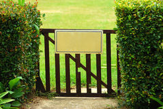 Blank sign on gate Royalty Free Stock Photography