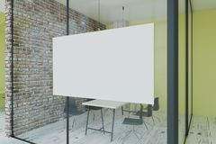 Blank sign on glass wall. Blank white sign on glass wall in modern eco loft office with wooden floor and brick wall. 3D render Royalty Free Stock Images