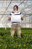 Blank sign in a glasshouse Stock Photos