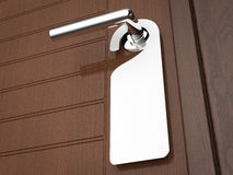 Blank sign hanging. With door knob Royalty Free Stock Photo
