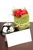Blank Sign at Hotel. Service Bell with Blank Sign and red roses at Hotel Desk Stock Photos