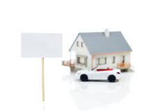 Blank sign and house model and car Stock Image