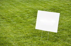 Blank Sign on Lawn. Blank advertising sign on lawn. Copy space. Horizontal Royalty Free Stock Photo