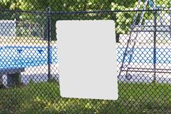 Free Blank Sign On Fence Around Public Pool Royalty Free Stock Photo - 125939805