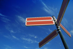 Blank sign post. In the sky Stock Image
