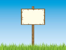 Blank sign post with grass. Please check my portfolio for more illustrations Royalty Free Stock Photo