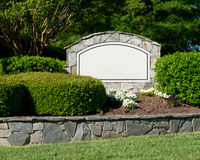 Blank sign of the subdivision entrance Stock Photos