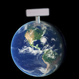 Blank Sign on top of the Earth Stock Photos