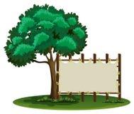 Blank sign beside the tree. Illustration Stock Image