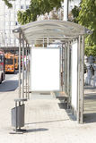 Blank sign on trolley-bus station.  Stock Image