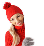 Blank sign wintertime woman Stock Image