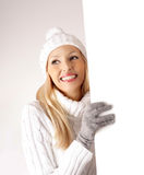 Blank sign wintertime woman Royalty Free Stock Image