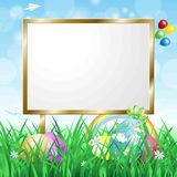 Blank signboard on spring landscape. Vector eps10 Stock Photo