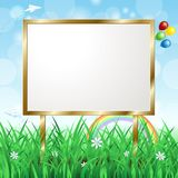 Blank signboard on spring landscape Stock Photography