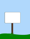 Blank signpost. Blank rounded rectangular signpost with tuft of grass at base vector illustration