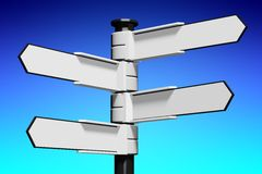 Blank signpost... Conceptual 3D high resolution (5000 x 3333 px) signpost - might be helpful to enhance Your presentation, web page, folder or brochure Stock Photo