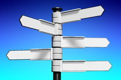 Blank signpost... Conceptual 3D high resolution (5000 x 3333 px) signpost - might be helpful to enhance Your presentation, web page, folder or brochure Stock Photography
