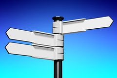 Blank signpost... Conceptual 3D high resolution (5000 x 3333 px) signpost - might be helpful to enhance Your presentation, web page, folder or brochure Royalty Free Stock Photos