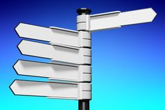 Blank signpost... Conceptual 3D high resolution (5000 x 3333 px) signpost - might be helpful to enhance Your presentation, web page, folder or brochure Royalty Free Stock Photography