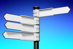 Blank signpost... Conceptual 3D high resolution (5000 x 3333 px) signpost - might be helpful to enhance Your presentation, web page, folder or brochure Royalty Free Stock Images