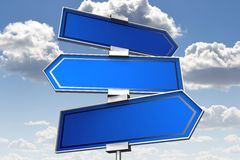 Blank signpost... Conceptual 3D high resolution (5000 x 3333 px) signpost - might be helpful to enhance your presentation, web page, folder or brochure Royalty Free Stock Photo