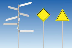 Blank signpost and guard posts. Stock Photos