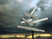 Blank signpost over dramatic sky Royalty Free Stock Photography