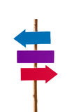 Blank signpost. Blank red blue purple signpost Stock Photography