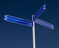Blank signpost with six arrows Royalty Free Stock Image