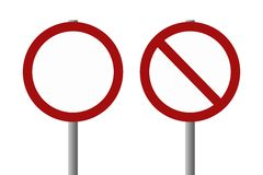 Blank signs - allowed, not allowed. Vector of two signs left blank to add something allowed or not allowed stock illustration