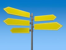 Blank signs pointing in opposite directions. 3D. Rendering Royalty Free Stock Image