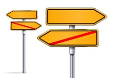 Blank signs pointing in opposite directions. Vector illustrarion Royalty Free Stock Images