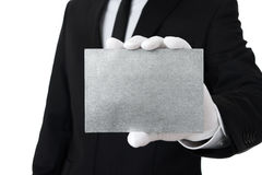 Blank silver card with copy space Royalty Free Stock Images