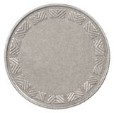 Blank silver coin. Empty silver coin on white background royalty free stock photo