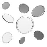 Blank silver coins on white background Royalty Free Stock Images
