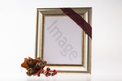 Blank silver frame with autumnal harvests Stock Photos