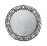 Blank silver medal. Isolated on white stock images