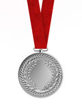 Blank silver medal with ribbon for second place Stock Image