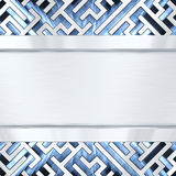 Blank silver plate on maze background Royalty Free Stock Photo