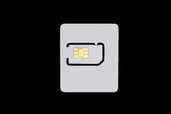 Blank sim card isolated on black background with clipping path Stock Image