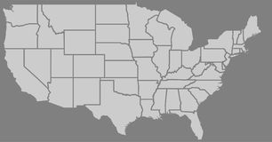 Blank similar high detailed USA map isolated on gray background. Stock Image