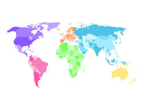 Blank simplified political map of world with different colors of each continent Stock Photography