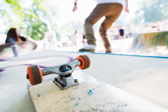 Blank skateboard on the ramp. Man riding on a skateboard. Skatepark royalty free stock photo