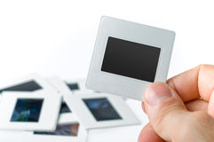 Blank slide, old photo frame. Blank photo frame. Old slide on a white background royalty free stock images